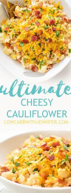 The Ultimate Creamy Bacony Cheesy Cauliflower. Say goodbye to bland cauliflower and make this cheesy bacony goodness stat.