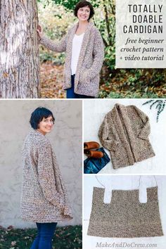 Crochet Cardigan This easy, cotton crochet long sleeve cardigan pattern for beginners uses a very simple construction to create a show-stopping look. Free pattern video tutorial that's totally doable AND totally wearable! Crochet Patterns For Beginners, Knitting For Beginners, Knitting Patterns Free, Free Pattern, Crochet Cardigan Pattern Free Women, Crochet Jacket Pattern, Cotton Crochet, Easy Crochet, Knit Crochet