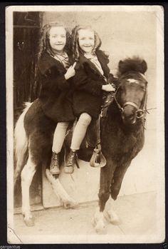 Ringlet Hair Twins Sister Girl on Rental Cowboy Pony 1920s Vintage Photo | eBay