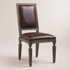 Brown Bonded Leather Curtis Dining Chairs, Set of 2 | World Market (head of the table)