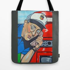 """Rodney Dangerfield Caddyshack Tote Bag by Portraits on the Periphery   - $22.00  Artist: David Feldman Rodney Dangerfield as Al Czervik in Caddyshack """"Hey, doll. Could you scare up another round for our table over here? And tell the cook this is low grade dog food. I've had better food at the ballgame, you know? This steak still has marks from where the jockey was hitting it. """" Purchase original painting here: https://www.etsy.com/listing/17715016...caddyshack?"""