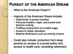 The american dream and the various definitions