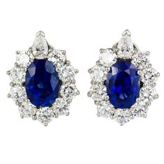 Sapphire Diamond Platinum Earrings | From a unique collection of vintage clip-on earrings at https://www.1stdibs.com/jewelry/earrings/clip-on-earrings/