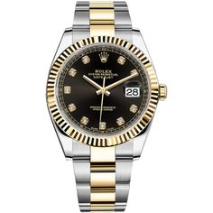 Rolex Datejust 41mm Steel and Yellow Gold 126333 Black Diamond Oyster... (14704200 IQD) ❤ liked on Polyvore featuring men's fashion, men's jewelry, men's watches, stainless steel, rolex mens watches, mens gold watches, mens black diamond watches and mens stainless steel watches