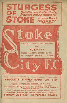 1948 Stoke City Programme Stoke City Fc, Football Program, Burnley, Stoke On Trent, Newcastle, Soccer, Vintage, Futbol, European Football