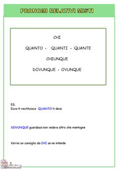 Pronomi relativi misti Italian Grammar, Italian Language, Learning Italian, Education, Reading, Photos, Ayrton Senna, Alphabet, Grammar