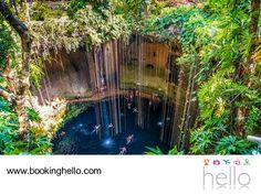 VIAJES EN PAREJA. La ruta de los cenotes es una gran opción para aventurarte con tu pareja, durante sus vacaciones por el Caribe mexicano. Disfruta de un recorrido espectacular por estos pozos naturales de agua cristalina que se alimentan de ríos y subterráneos y que eran considerados por los mayas, como lugares sagrados. En Booking Hello te recordamos que este destino guarda un sinfín de lugares para explorar, sólo tienes que adquirir tu pack all inclusive con nosotros. #BeHello
