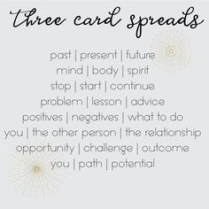 Use any of these with the Three Card Tarot Spread journal page! Tarot Card Spreads, 3 Card Tarot Spread, Love Tarot Spread, Spread Love, Tarot Cards For Beginners, Wicca For Beginners, Tarot Astrology, Astrology Chart, Astrology Signs