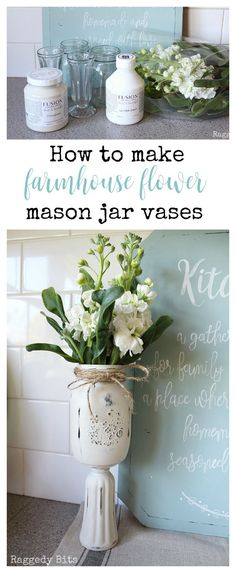A simple and easy way to make Farmhouse Mason Jar Vases. Great gift ideas and also perfect for weddings to give a little height to decorations | www.raggedy-bits.com