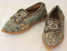 Extremely Rare Rope Soled Children's Silk Brocade Shoes French Early-Mid 18th c