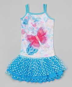 Another great find on #zulily! Aqua Butterfly Sublimation Dress - Girls by Lipstik Girls #zulilyfinds