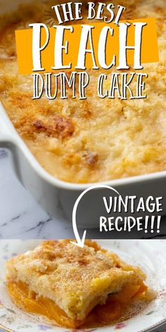 This old-fashioned peach dump cake is quick and easy dessert you'll absolutely love. A dump cake is Dessert Simple, Dump Cake Recipes, Baking Recipes, Dump Cakes, Köstliche Desserts, Dessert Recipes, Easy Bake Desserts, Dump Meals, Canned Peaches
