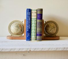 Vintage Globe Bookends Wood Rotating World Globe