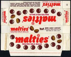 Ward Candy Company - Malties Malted Milk Balls - candy box - by… Candy Labels, Food Labels, Vintage Packaging, Print Packaging, Halloween Items, Halloween Candy, Penny Candy, Candy Companies, Printable Box