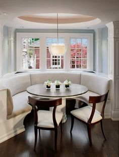 curved banquette seating for dining room | Curved Banquette Seat in Kitchen - traditional - kitchen - milwaukee ...