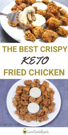 The best Crispy Keto Fried Chicken – Low-Carb Gluten-Free - Fleisch Low Carb Dinner Recipes, Keto Dinner, Keto Recipes, Healthy Recipes, Healthy Food, Dinner Dessert, Game Recipes, Lunch Recipes, Soup Recipes
