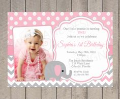 Girl First Birthday Invitation Elephant Girl by VividLaneDesigns, $18.00