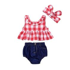 2018 Summer Kids Clothes Red Plaid Skirted T-shirt Tops+Denim Short Bloomers Headband Baby Girl Clothes Toddler Newborn Outfit Baby Outfits, Girls Summer Outfits, Toddler Girl Outfits, Kids Outfits, Girls Dresses, Stylish Dresses, Baby Dresses, Girls Wear, Fashion Kids