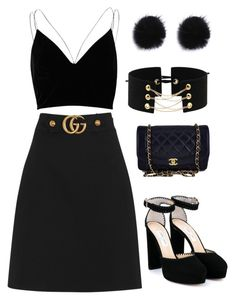 """paint it all black"" by jxvxk ❤ liked on Polyvore featuring Gucci, River Island, Jimmy Choo and Chanel"