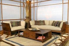 Wood living room & Simple Living Room Wood Furniture Design with Wall Mounted Arts and ...