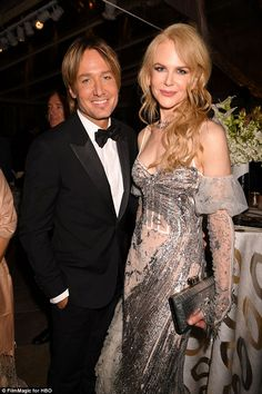 Keith Urban & Nicole Kidman from Golden Globes 2017 Party Pics The Lion nominee and her famous husband smiled for cameras at the HBO after-party. Enjoy Girl, Golden Globes After Party, Famous Couples, Keith Urban, Nicole Kidman, Celebrity Couples, Ladies Day, Gray Dress, Girls Night