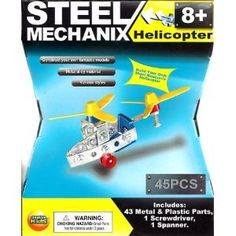 Steel Mechanix Helicopter Kit by Creative Kids. $4.99. 1 spanner. 53 metal and plastic parts. 45 pieces total. 1 screwdriver. Great way to spend time with your favorite kid.  Build and drive your own vehicle and bond together.