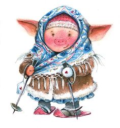 Watercolor illustration of a winter Christmas pig in a shawl and fur coat skiing on a white backgroundChristmas New Year Illustration, Cute Illustration, Watercolor Illustration, Christmas Pictures, Christmas Art, Winter Christmas, New Year Art, Cute Piglets, Funny Pigs