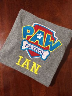 Paw Patrol shirt inspired personalized clothing by MamasLittleWorkshop (Perfect for Ian's birthday! Paw Patrol Shirt, Paw Patrol Party, Paw Patrol Birthday, Fourth Birthday, 4th Birthday Parties, Birthday Bash, Birthday Ideas, Puppy Party, Party Time