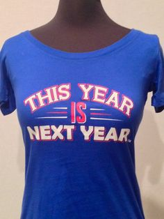 Now in Blue! Women's baby tee in Cubs blue.