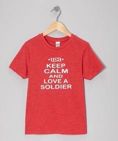Look at this #zulilyfind! Bourbon Street Boutique Red 'Love a Soldier' Tee - Infant, Toddler & Kids by Bourbon Street Boutique #zulilyfinds