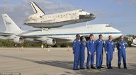 The six astronauts who flew Discovery's final space trip a year ago were on hand for an emotional tribute on Monday 16/4/2012 before it's final journey to the Smithsonian in Washington DC.