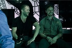 James McAvoy sharing a laugh with director Eran Creevy on the set of Welcome to the Punch.
