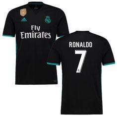 Ronaldo Real Madrid adidas Youth 2017/18 Away Replica Patch Jersey - Black