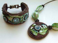 Shibori bracelet and necklace, bead embroidered jewelry, shibori silk on Etsy, $140.96 AUD