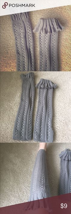 BRAND NEW cable knit boot cuffs These gray cable knit boot cuffs are brand new. I have never worn them and just took them out of the package today to take the pictures. They come to the knee and are perfect to fold over boots in the winter! I have included pictures to show length on the leg. Offers welcome ☺️ Accessories Hosiery & Socks