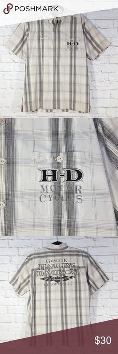 Harley Davidson Button Down Plaid Shirt Medium Harley Davidson Motorcyles Men's Button Down Short Sleeve Plaid Shirt Embroidered Pockets Size Medium Please see measurements that are in the photo gallery to ensure proper fit. Thank you for looking at my closet!  Happy poshing!! Harley-Davidson Shirts Casual Button Down Shirts