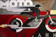 """Moto Autobahn"" by Mike Kungl Poster Art, Retro Poster, Kunst Poster, Art Deco Posters, Poster Prints, Art Deco Illustration, Digital Illustration, Motorcycle Art, Bike Art"