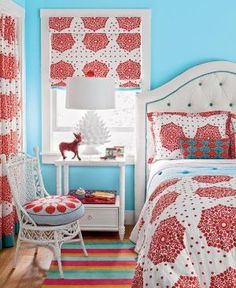 Coastal Living: Dana Small - Bold and beautiful girls bedroom painted Pool Party by Benjamin Moore. Blue ... by stacie