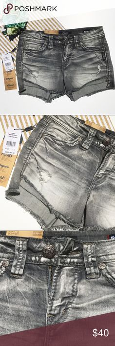 Aiko Silver Jean gray short size 25 Brand new with tag Silver Jeans Shorts