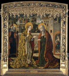 Unknown Spanish Painters The Visitation, , Museo del Prado, Madrid. Read more about the symbolism and interpretation of The Visitation by Unknown Spanish Painters. Medieval Paintings, European Paintings, Photography Illustration, Art Photography, Lucas 1, Madrid, Web Gallery Of Art, Roman Church, Spanish Art