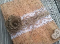 rustic wedding guest book, fall wedding, autumn wedding, country wedding book burlap wedding, shabby chic wedding book