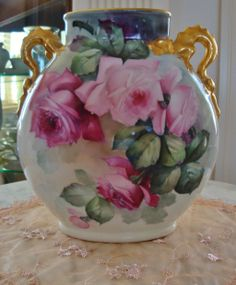 Antique Limoges France Hand Painted Porcelain Dragon Handle Pillow Vase- Mantle Vase ~ Pastel Roses~