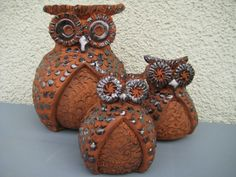 Keramik Eule Familie  Pottery family owl and owlet