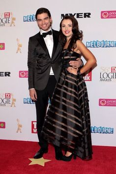 Onscreen couple: Home And Away stars Jackson Gallagher and Philippa Northeast are very muc. Celebrity Red Carpet, Celebrity Dresses, Star Jackson, Best Yet, Tv Awards, Young Couples, Dress Picture, Fashion Story, Home And Away