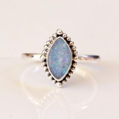 Marquise Australian Blue Opal Ring