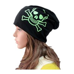 Neon Green Skull Print Beanie Hat (10 CAD) ❤ liked on Polyvore
