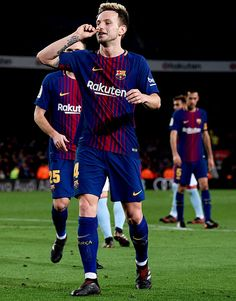 """""""Ivan Rakitic of FC Barcelona celebrates after scoring his team's fifth goal during the Copa del Rey round of 16 second leg match between FC Barcelona and Celta de Vigo at Camp Nou on January 11, 2018..."""