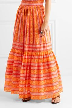 Cheap Sale Pictures Outlet 2018 Tory Burch Woman Hermmosa Broderie Anglaise Cotton Midi Skirt Bright Orange Size 6 Tory Burch Usy68huwL