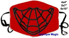 Face Mask Superhero Machine Embroidery Pattern 4x4 5x7 6x10 INSTANT DOWNLOAD by AppliqueMagic on Etsy Machine Applique Designs, Machine Embroidery Patterns, Tapas, Different Types Of Fabric, Star Stitch, Homemade Face Masks, W 6, Red Fabric, Sell On Etsy