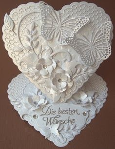 Ullis Bastelwerkstatt: Ganz in weiß - All in White. Supplies list on linked web page. Mostly cheery Lynn. Pretty Cards, Love Cards, Wedding Anniversary Cards, Wedding Cards, Shaped Cards, Easel Cards, Butterfly Cards, Heart Cards, Card Tags
